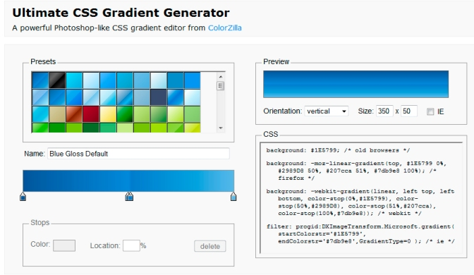 Ultimate CSS Gradient Generator – ColorZilla.com